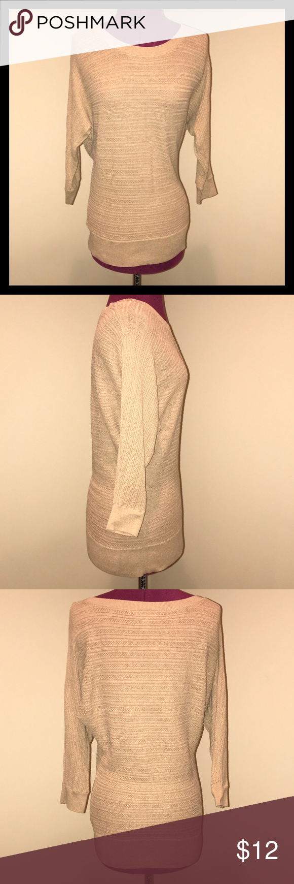 Loft 3/4 Sleeve Sweater Loft 3/4 sleeve tan sweater. Size small.  Gently used. LOFT Sweaters