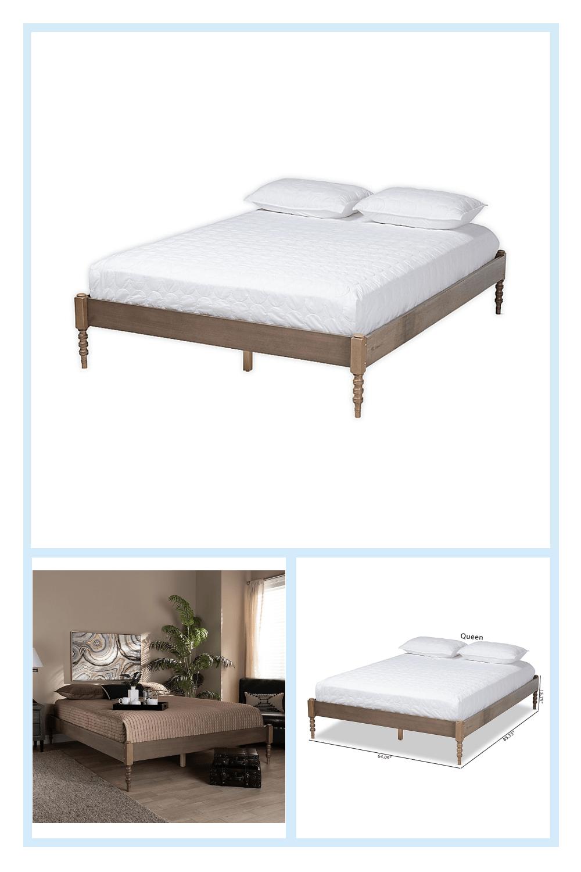 Baxton Studio Baako Queen Platform Bed Frame In Weathered