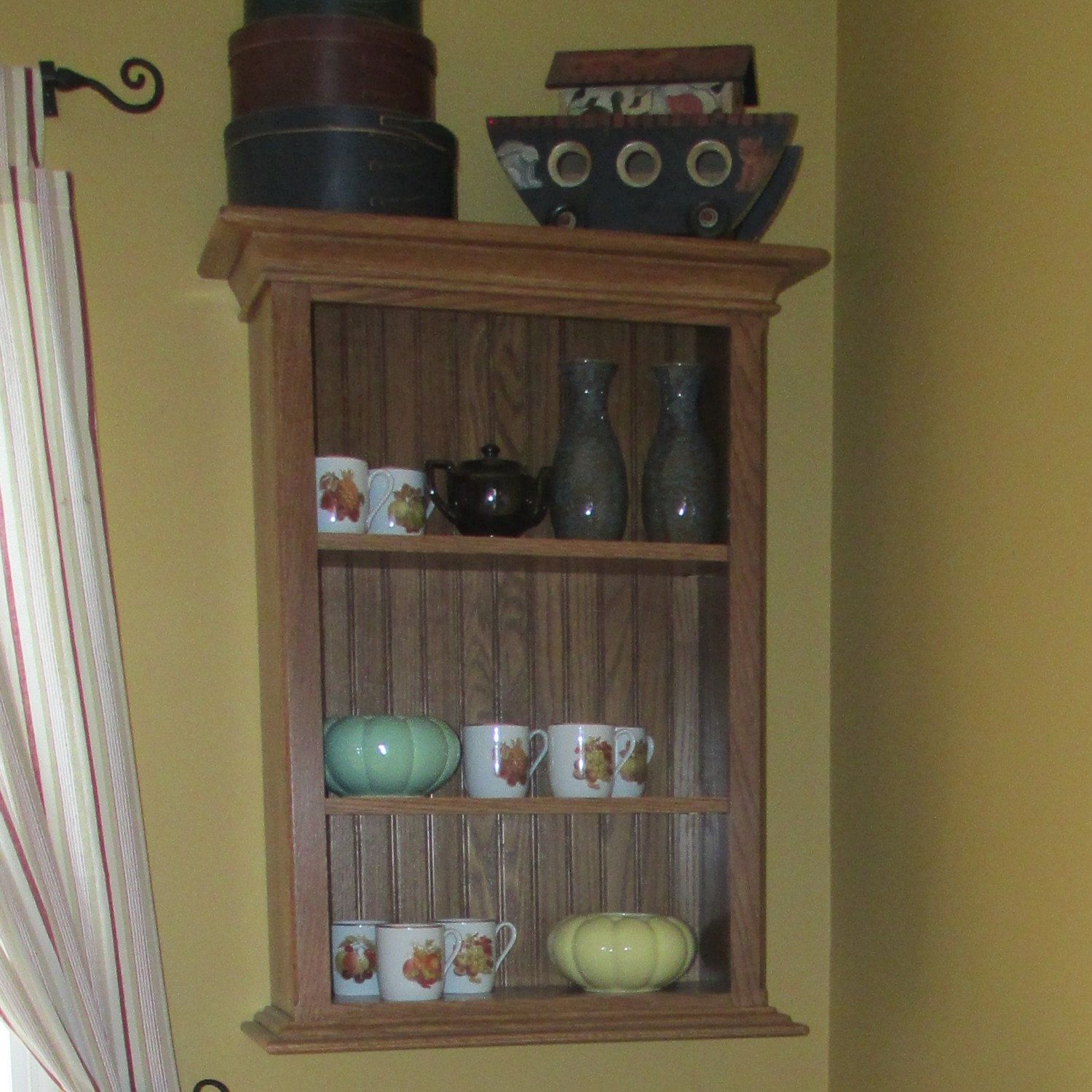 Custom Made Wall Mounted China Cabinet In Oak! Beautiful!