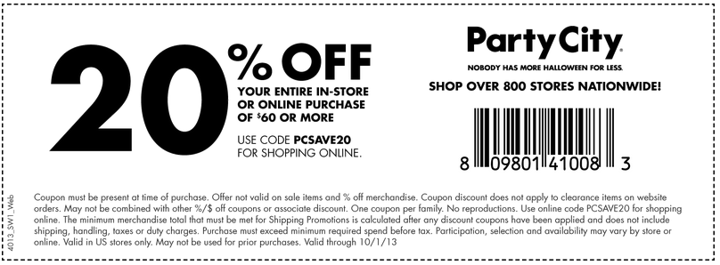 Party City 20 off 60 Printable Coupon Party city