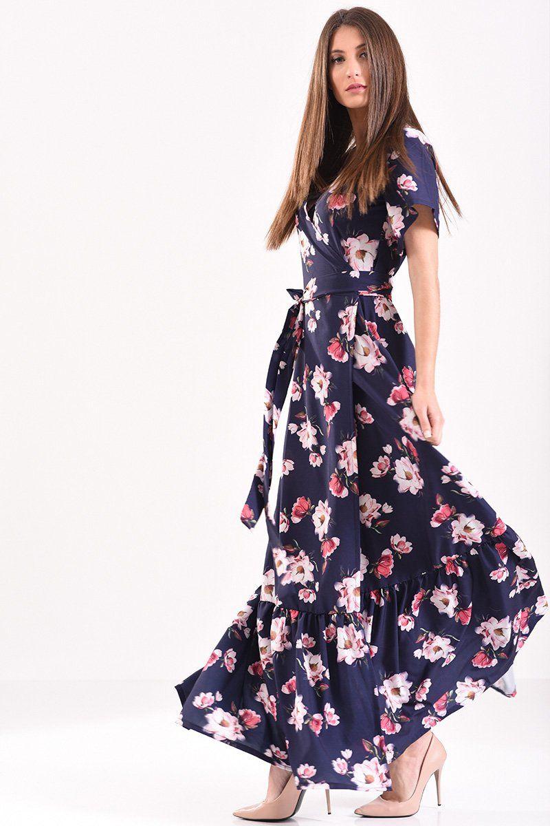 Μακρύ φόρεμα κρουαζέ φλοράλ σε μπλε αποχρώσεις με βολάν στο τελείωμα ... 6f00211db90