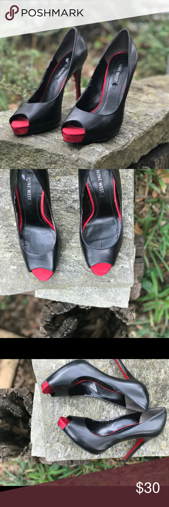 d29d316e7879 NINE WEST peep toe pumps with RED SOLE These ain t expensive red bottoms