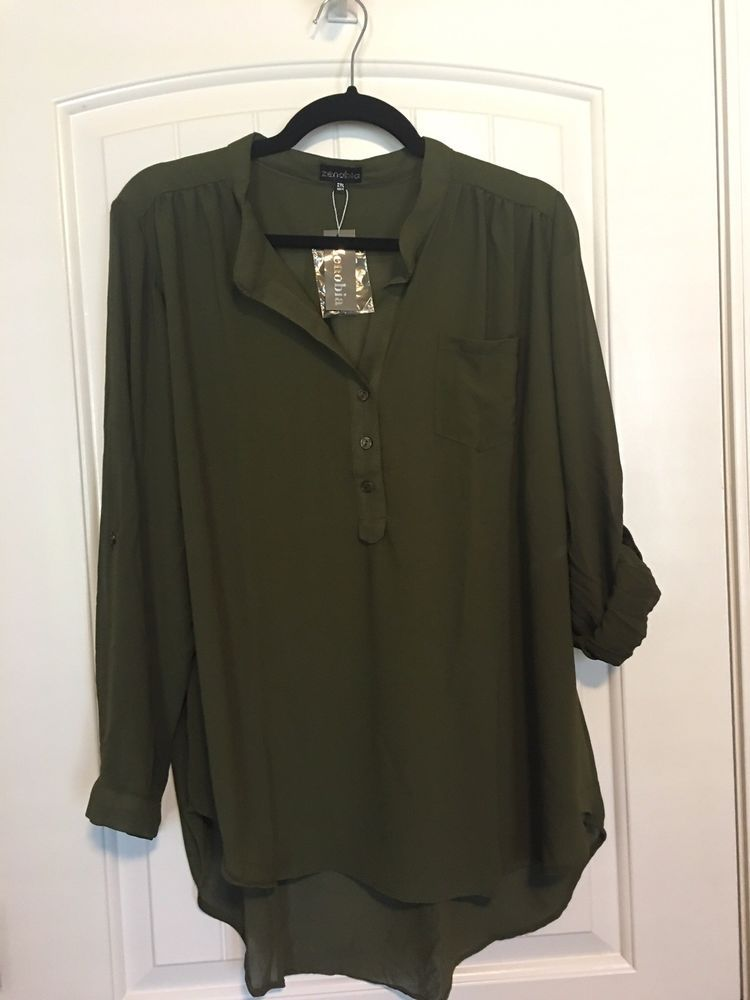 b3aa20cb304 Zenobia 2xl Olive Blouse Sheer NWT  fashion  clothing  shoes  accessories   womensclothing  tops (ebay link)