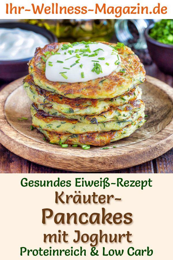 Protein-Kräuter-Pancakes mit Joghurt – Low-Carb-Eiweiß-Pfannkuchen-Rezept zum Abnehmen