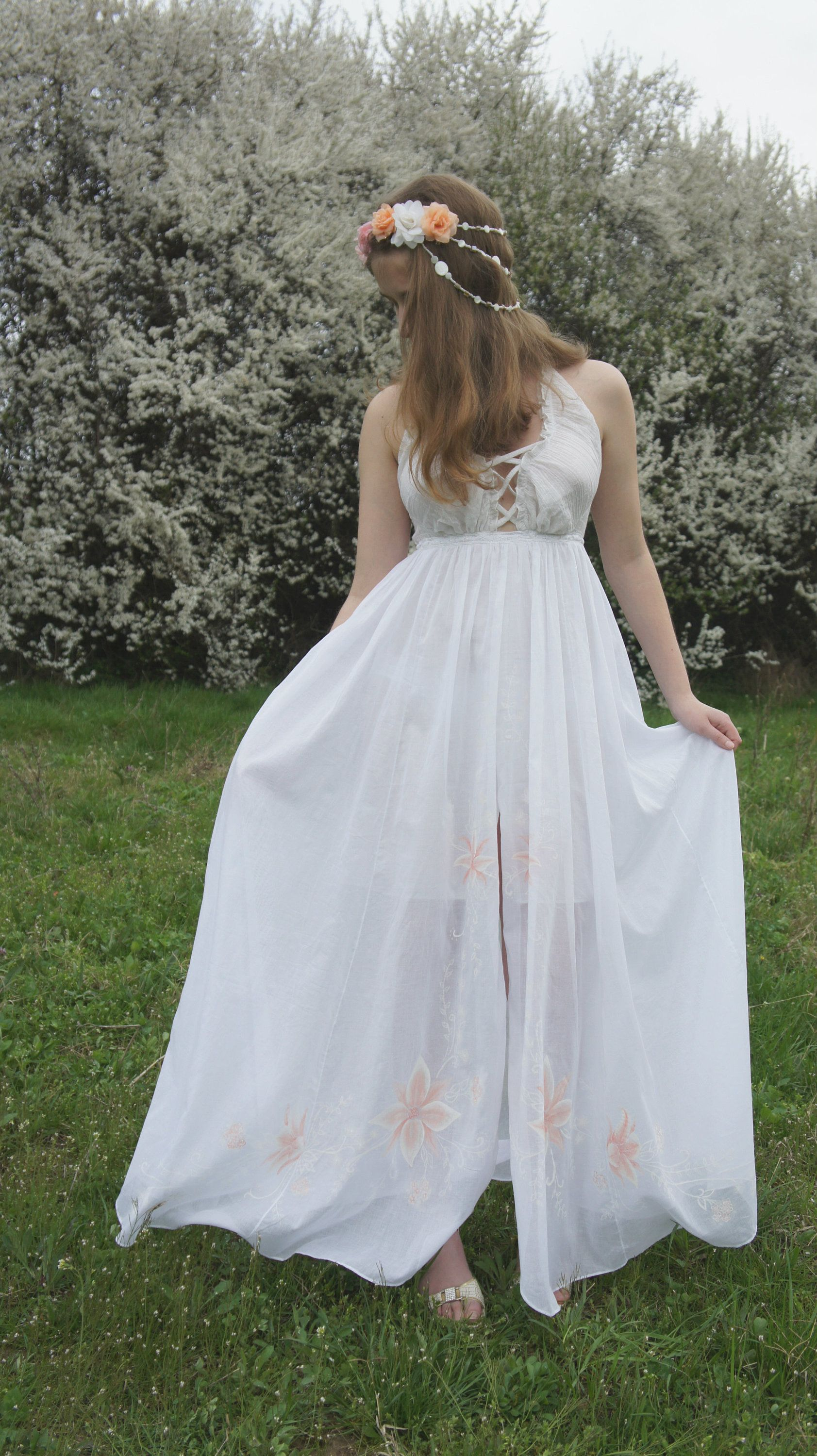 Rustic wedding dress boho wedding dress hand painted dress