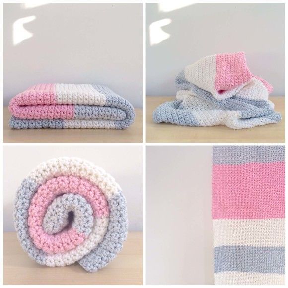 A beautiful crochet color block blanket. Pink gray and white ...