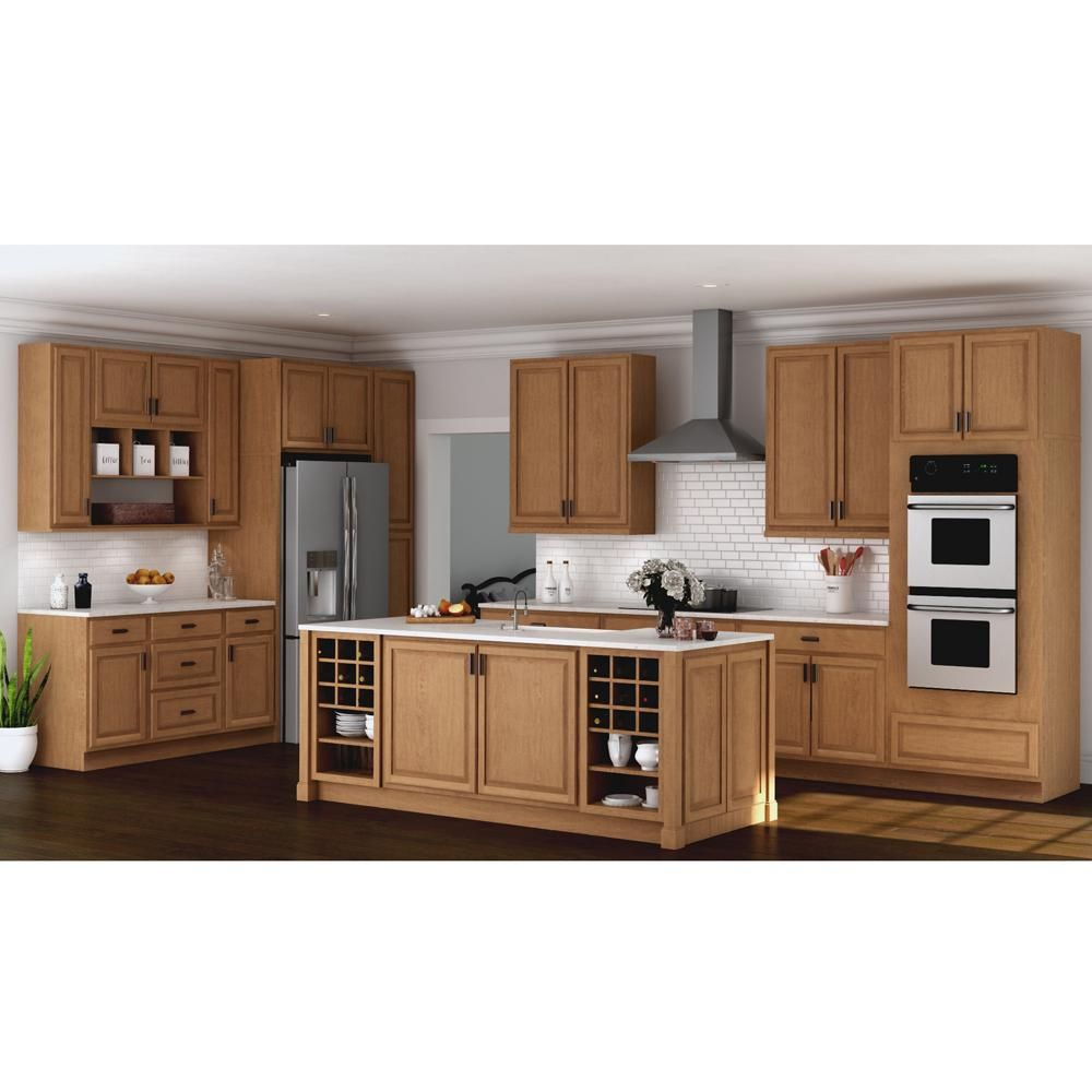 Hampton Bay Hampton Assembled 36x36x12 In Wall Kitchen Cabinet In Natural Hickory Kw3636 Nhk The Home Depot Kitchen Base Cabinets Kitchen Cabinets New Kitchen Cabinets