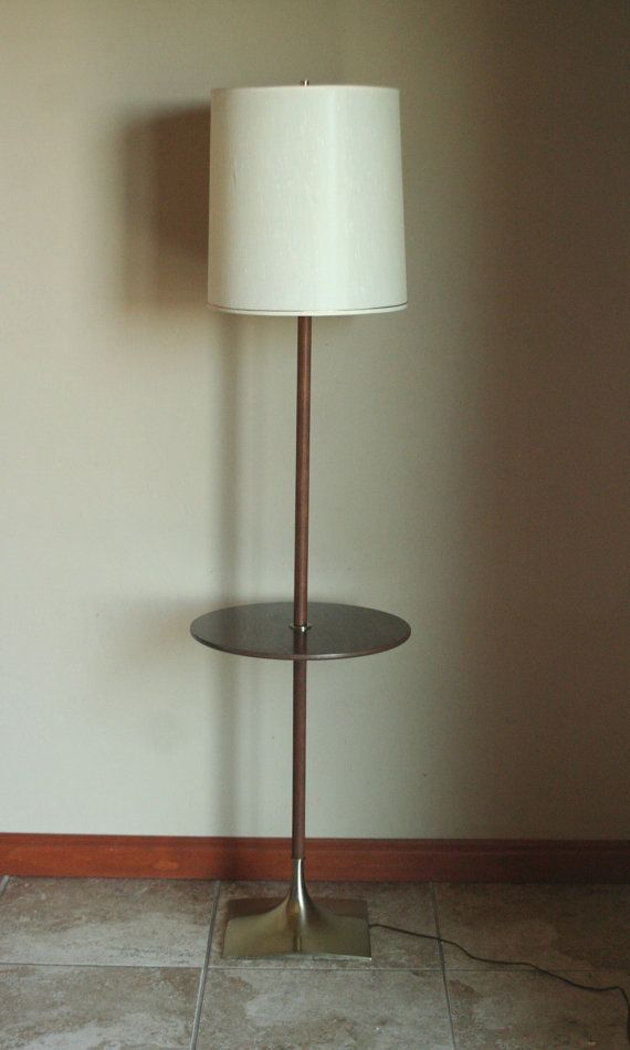 Working Vintage Floor Lamp With Built In Table And Original Shade Mid Century Modern Danish Style T Vintage Floor Lamp Mid Century Modern Floor Lamps Lamp