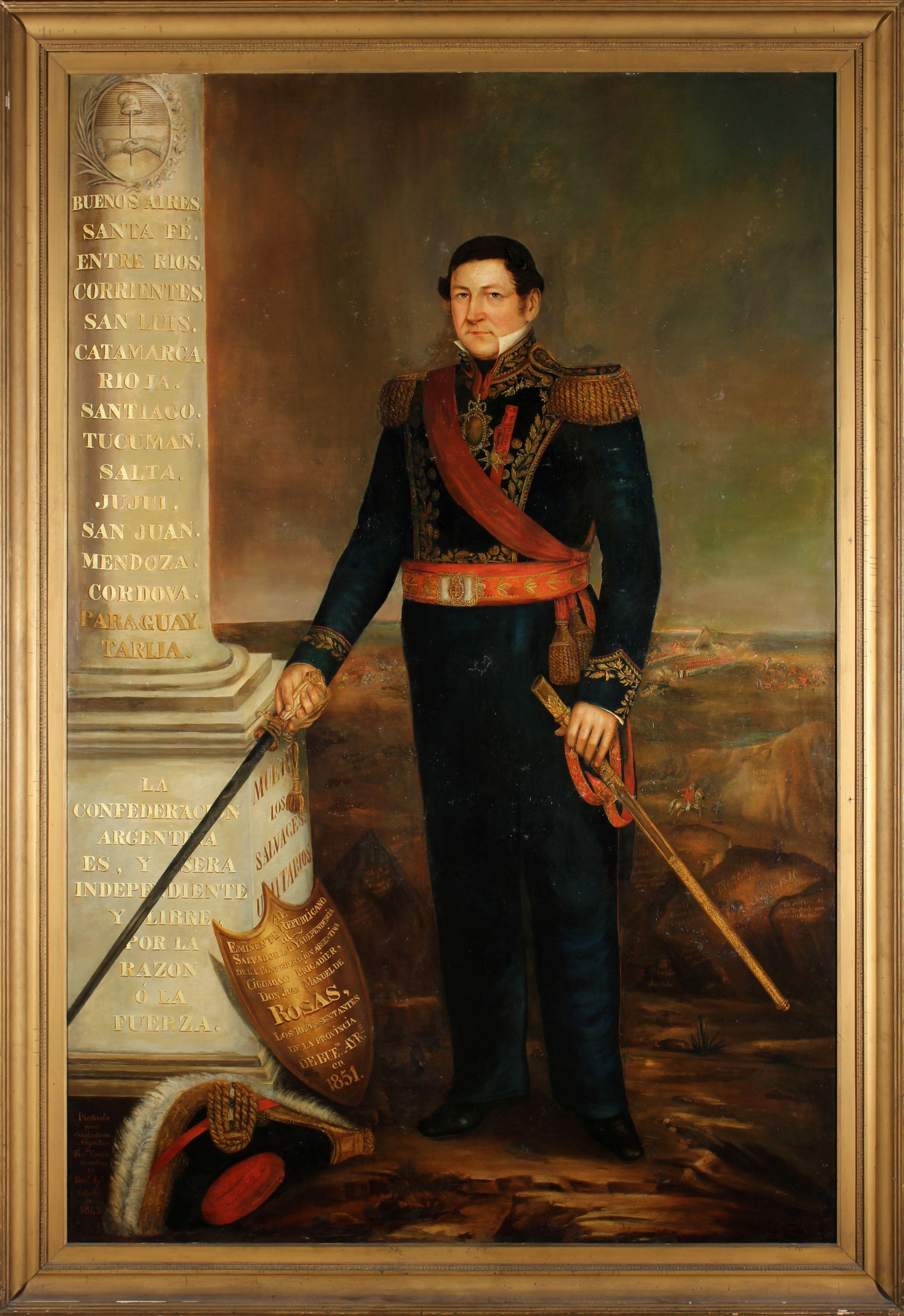 """Pintura por Fernando García del Molino, 1843 - """"Retrato del General Juan Manuel de Rosas"""""""