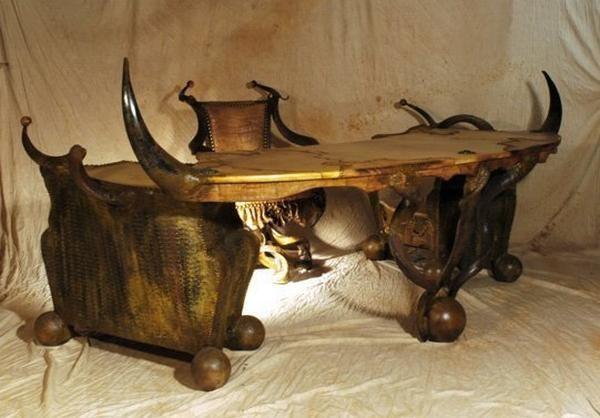 Unusual Desks african chairs | strange african made furniture - skins, tusks