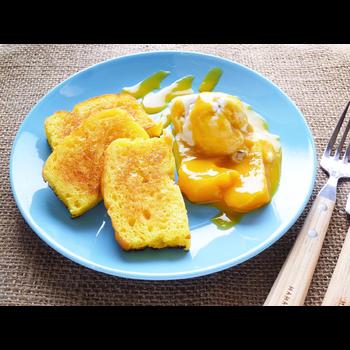 クミタス レシピ メープルケーキ マンゴーとココナッツアイス添え(乳・小麦不使用)