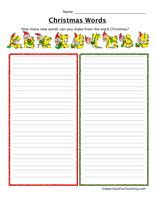 """Christmas Words Worksheet: How many new words can you make from the word """"CHRISTMAS ..."""