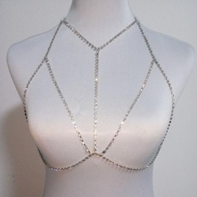 Stylish Crystal Rhinestone Chest Body Chain Harness Necklace Jewelry Silver
