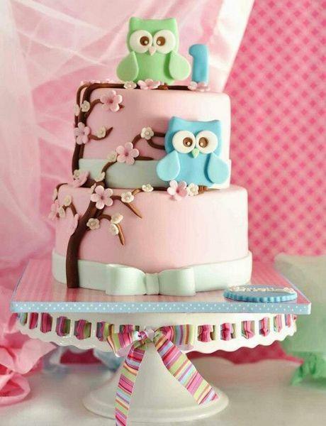 Cute Owl Pastel Birthday Cake for Kids wwwfoodideasrecipescom