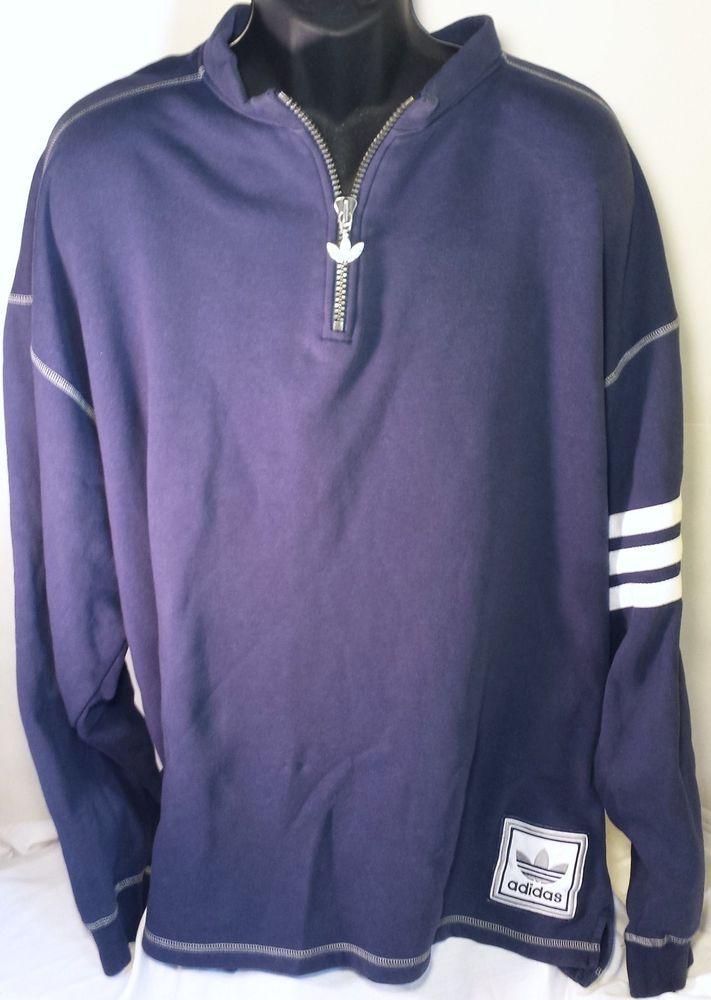 Vintage Adidas Uomini Xxl Maglione O 2Xl 1 / 2 O Maglione Trifoglio 90 Blu Adidas abb0b9