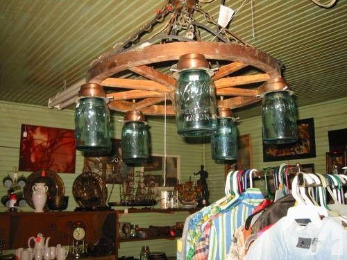 blue mason jar wagon wheel chandelier for sale in tuscaloosa alabama classified - Wagon Wheel Chandelier