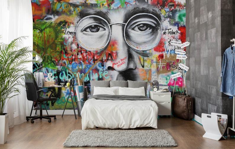 3d John Lennon Graffiti Wallpaper Removable Self Adhesive Wallpaper Wall Mural Vintage Art Peel And Stick Graffiti Wallpaper Portrait Wall Mural Wallpaper