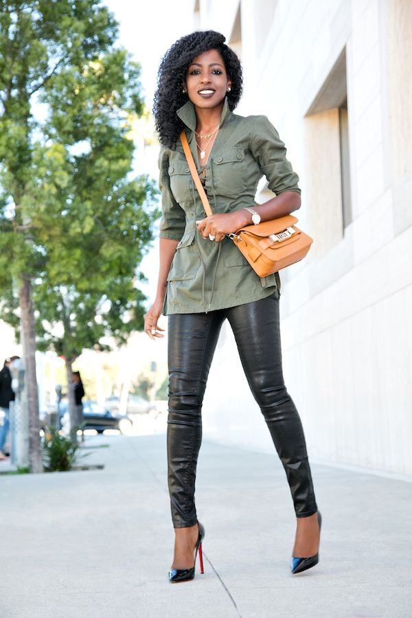 Military Inspired Tunic + Coated Jeans