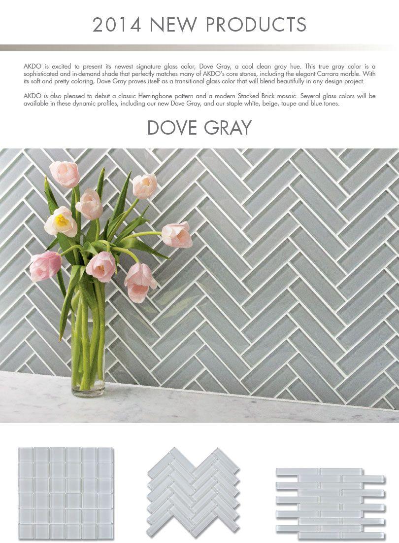Akdo 1 X4 Glass Tile In Herringbone Pattern Available At