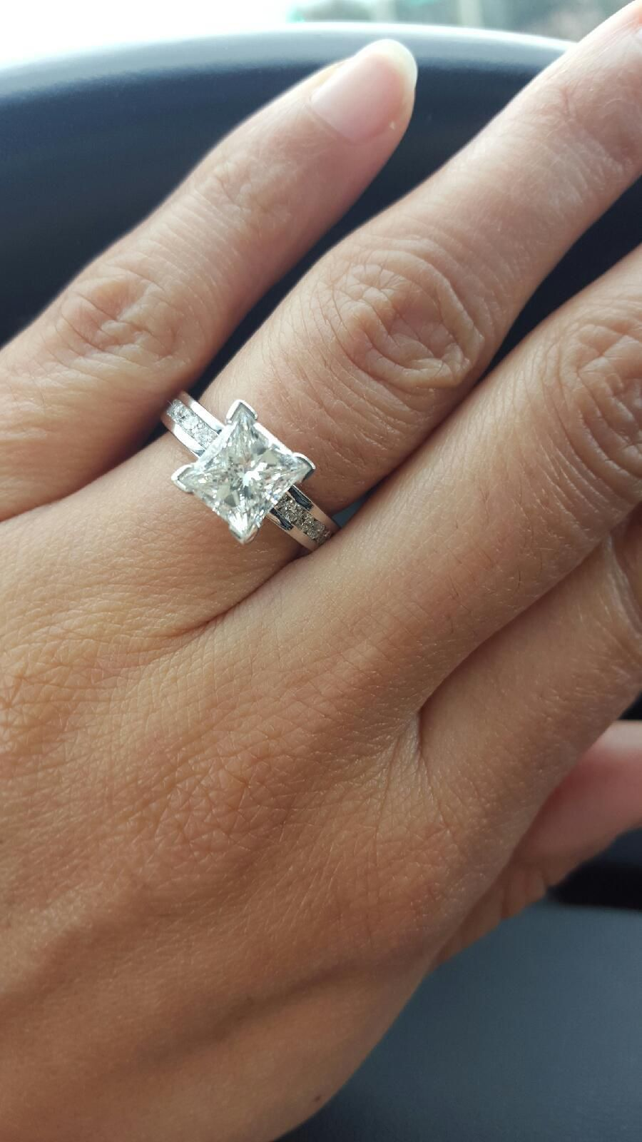 9feddd228 Perfectly cut Princess diamond engagement ring... she said yes! ❤  Congratulations to the newly engaged couple! Thank you for sharing your  precious moment ...