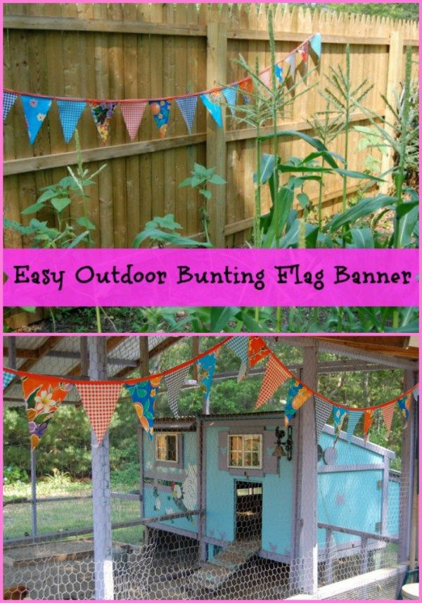 Easy Outdoor Bunting Flag Banners -- It's a party everyday when you decorate your yard with these super easy, minimal sewing outdoor bunting banners!