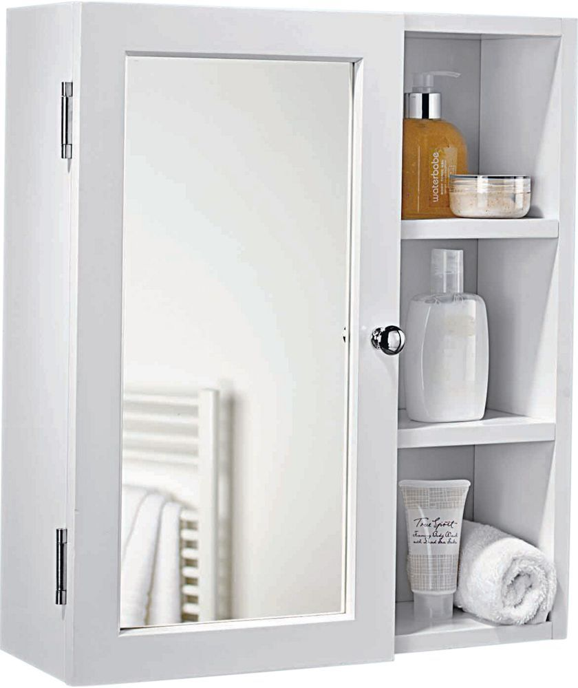 Buy home single mirror bathroom cabinet with shelves white at argos co uk your online shop for bathroom cabinets bathroom cabinets
