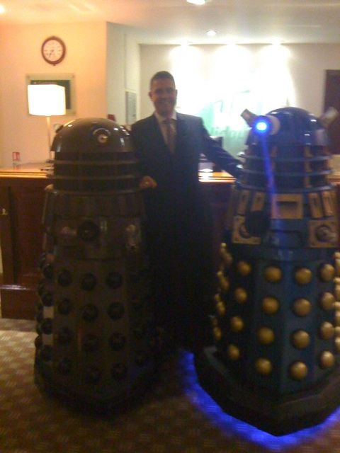 """Daleks from """"Dr. Who"""" check in to Holiday Inn Norwich North, Norwich, UK. Photo credit: Twitter user @devingrosse"""