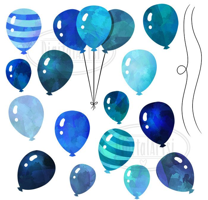Watercolor Blue Balloons Clipart Watercolor Balloons Download