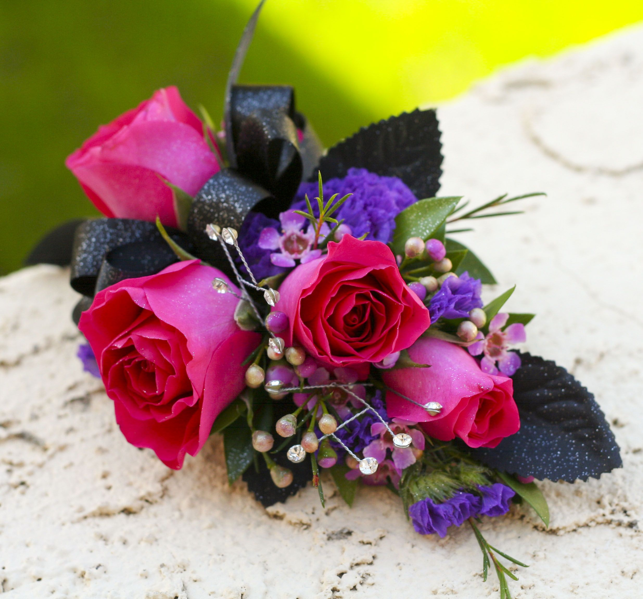 Pretty Corsage With Pink And Purple Flowers Prom Corsages