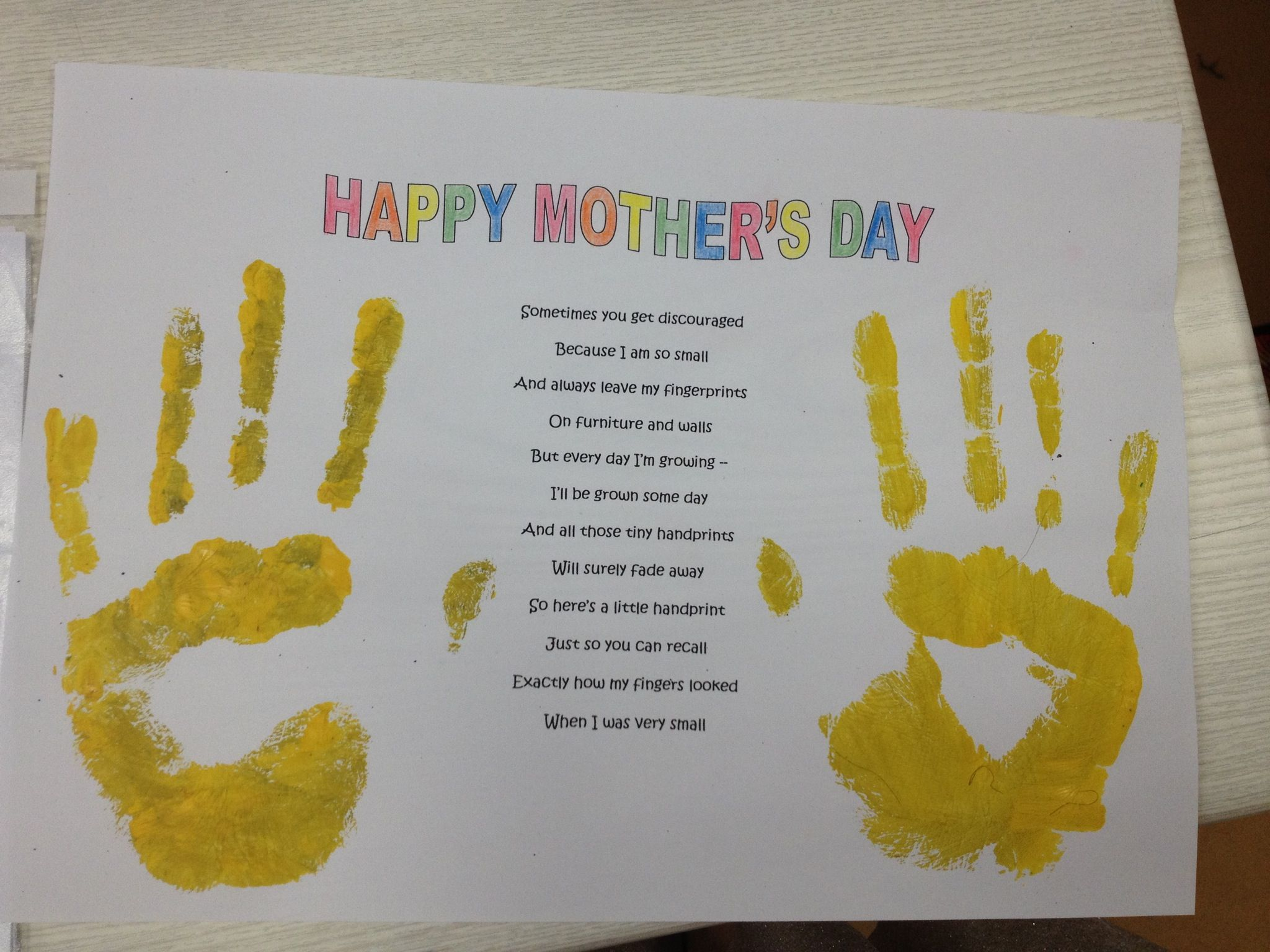 Ever after my way mothers day handprints and footprints for Mothers day art for preschoolers