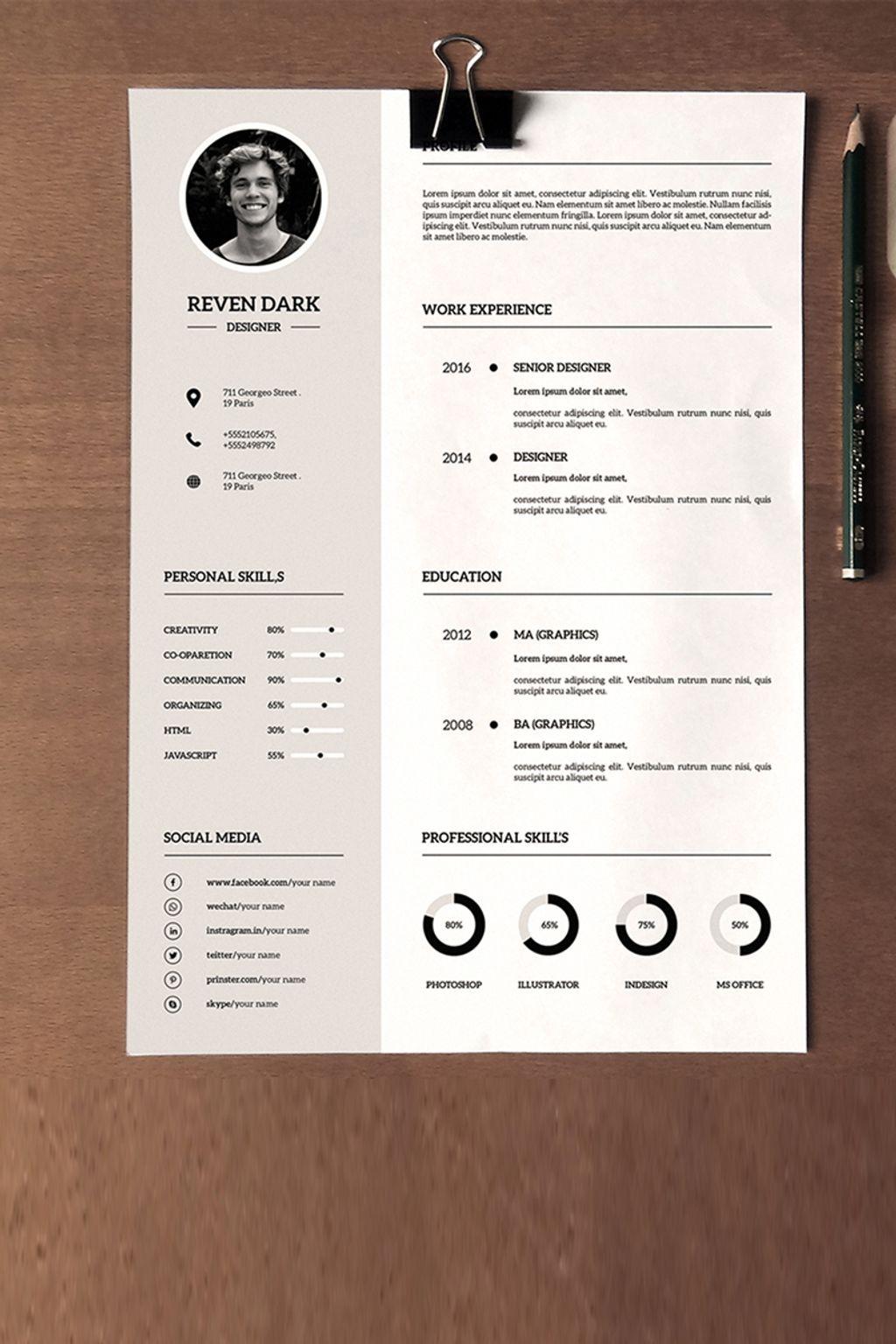 reven dark clean resume template