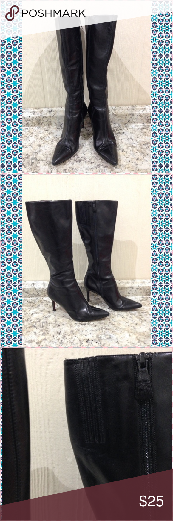"""🌴NEW LISTING🌴 Ann Taylor Stilleto Boots Black. Red bottom. Leather upper. Knee-hi. Stilettos. Stretch at calf.  Inside is peeling. Show other signs of wear (scratches and rubbing). 3"""" heels. Size 8 1/2. (2/21) Ann Taylor Shoes Heeled Boots"""