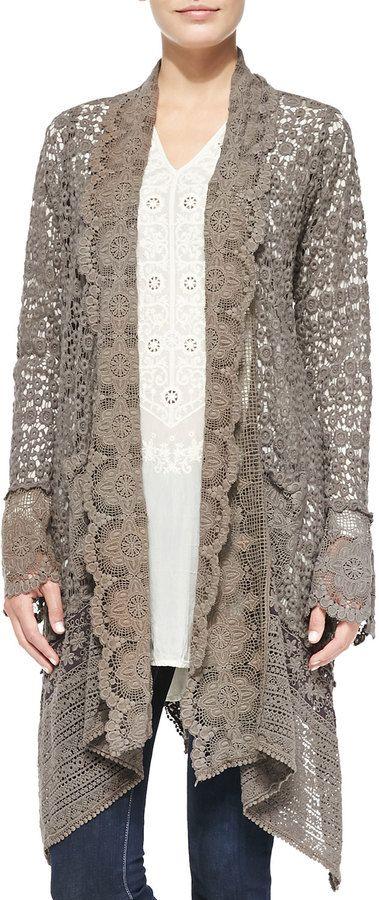 Johnny Was Jonny Ws Collection Lacy Crochet Jacket Printed Silk Scarf Boho Fashion Fashion
