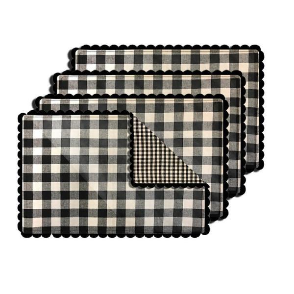 Lintex Buffalo Check Black Reversible Placemat Set Of 4 342073 The Home Depot In 2021 Buffalo Plaid Decor Placemat Sets Buffalo Check Curtains