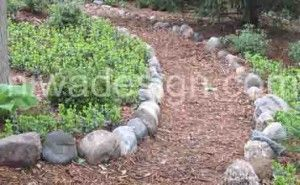 Shredded Wood Mulch Garden Path Lined With Round Stones With