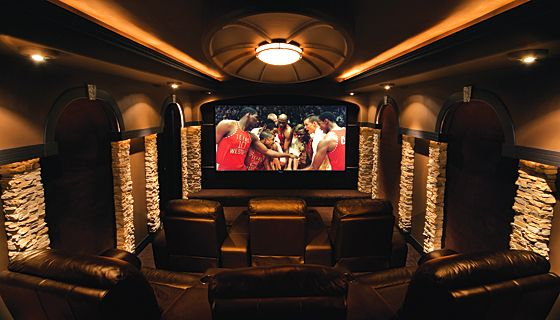Stone Columns And Soundproofing At Home Movie Theater Home