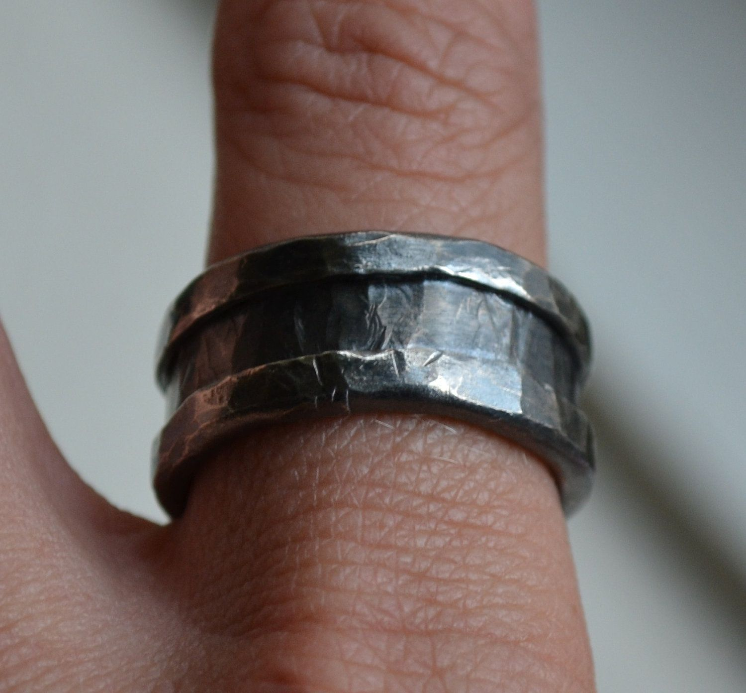 Mens Wedding Band Rustic Fine And Sterling Silver Ring Handmade Wedding Band Rustic Men S Wedding Band Men S Wedding Ring Custom Rustic Wedding Bands Mens Rustic Wedding Bands Wedding Bands
