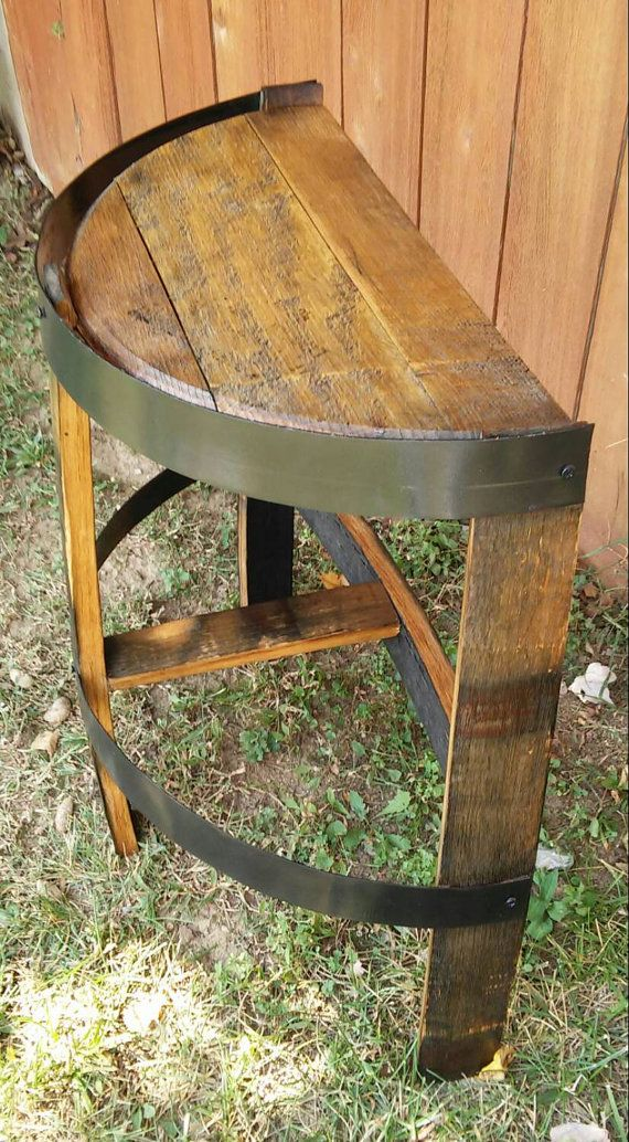 Whiskey Barrel Stave Side Table With Bands Decoratin