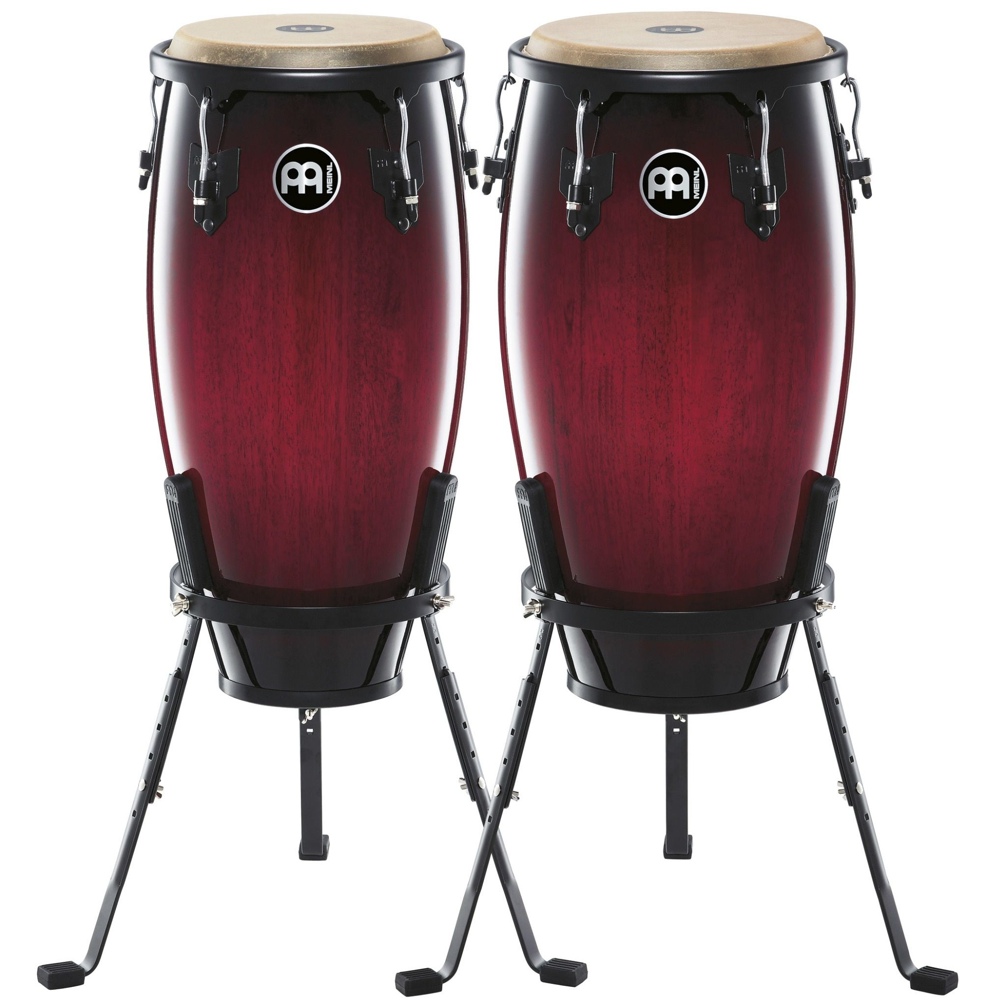 Meinl 11 And 12 Headliner Congas In Wine Red Burst W Stands Congas Percussion Wine Red