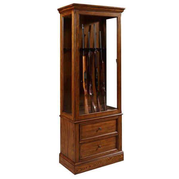 Wood Glass Gun Cabinet W/Light Wood Color