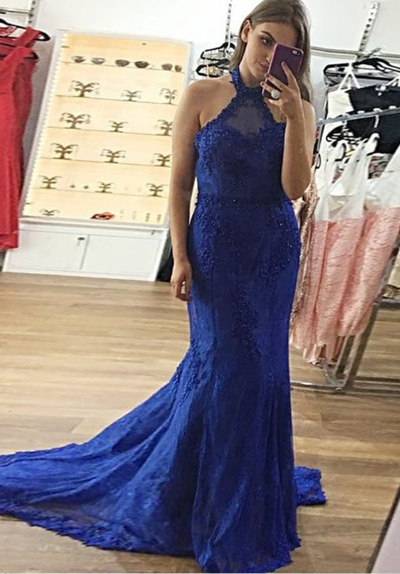 f7112a25a3a Mermaid Halter Backless Sweep Train Royal Blue Prom Dress with Appliques by  PrettyLady