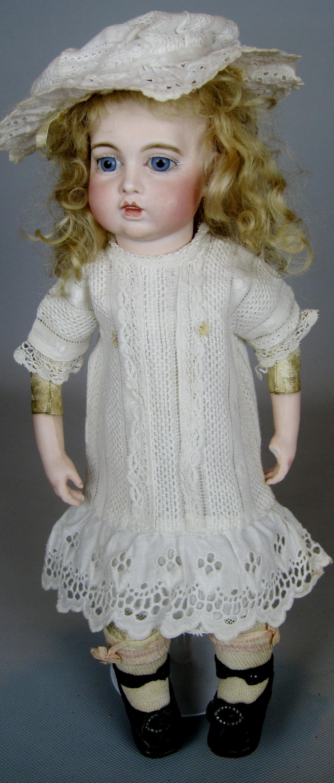 French Bisque Circle Dot Bru Jne Bebe Doll with Original Trousseau Wardrobe
