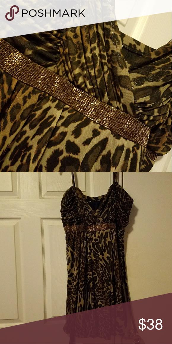 8a3997e464 Size 26 leopard print dress wore once to a wedding. Needs a good ...
