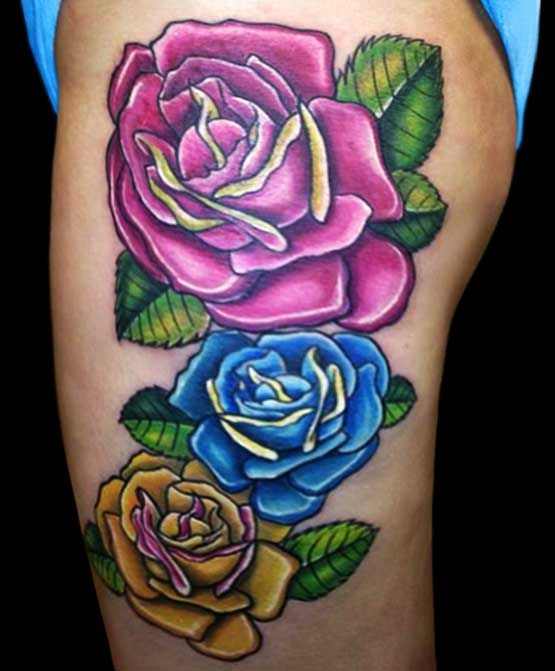 Tattoo Ideas With 3 Names: Three Roses On Women's Thighs