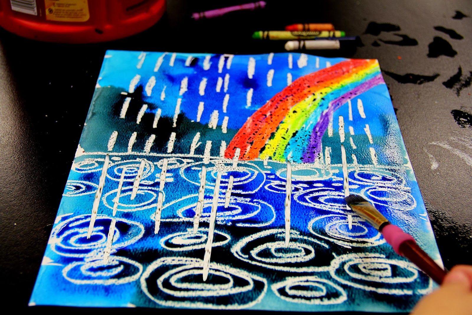 winter rain watercolor resist elementary art projects pinterest