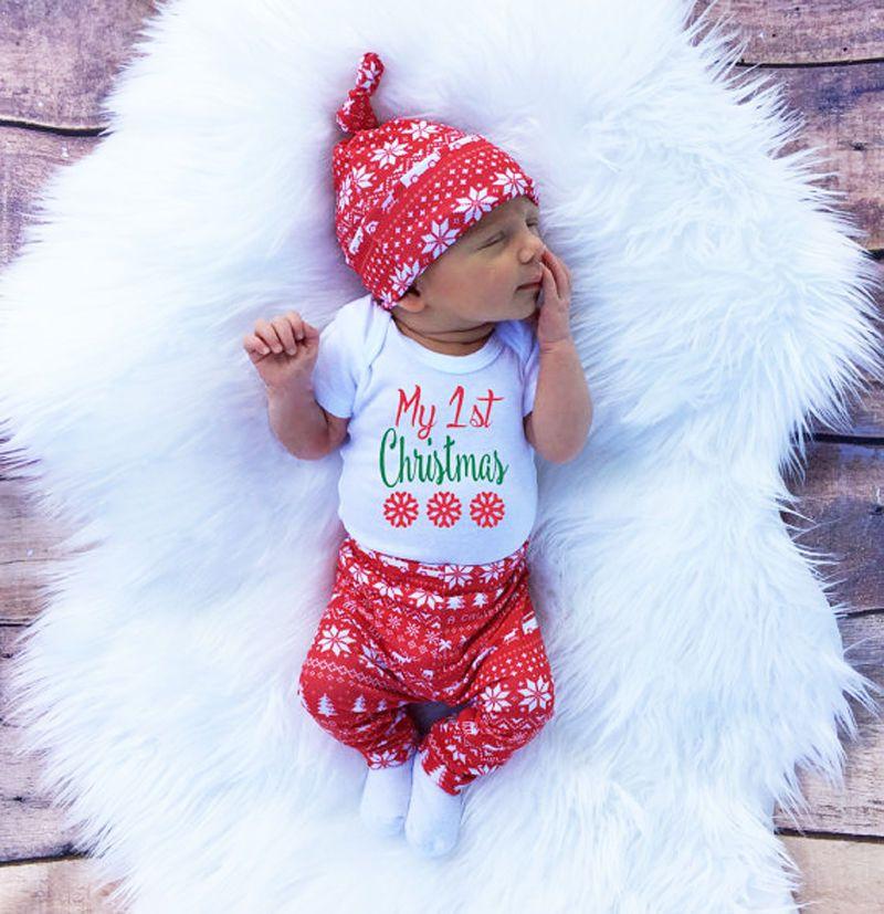 2016 Boze Narodzenie Snowflake Romper Newborn Baby Girl Boy Spodnie Legginsy Kapelusz 3 Sztu Baby Christmas Outfit Baby Boy Christmas Outfit Baby Boy Christmas