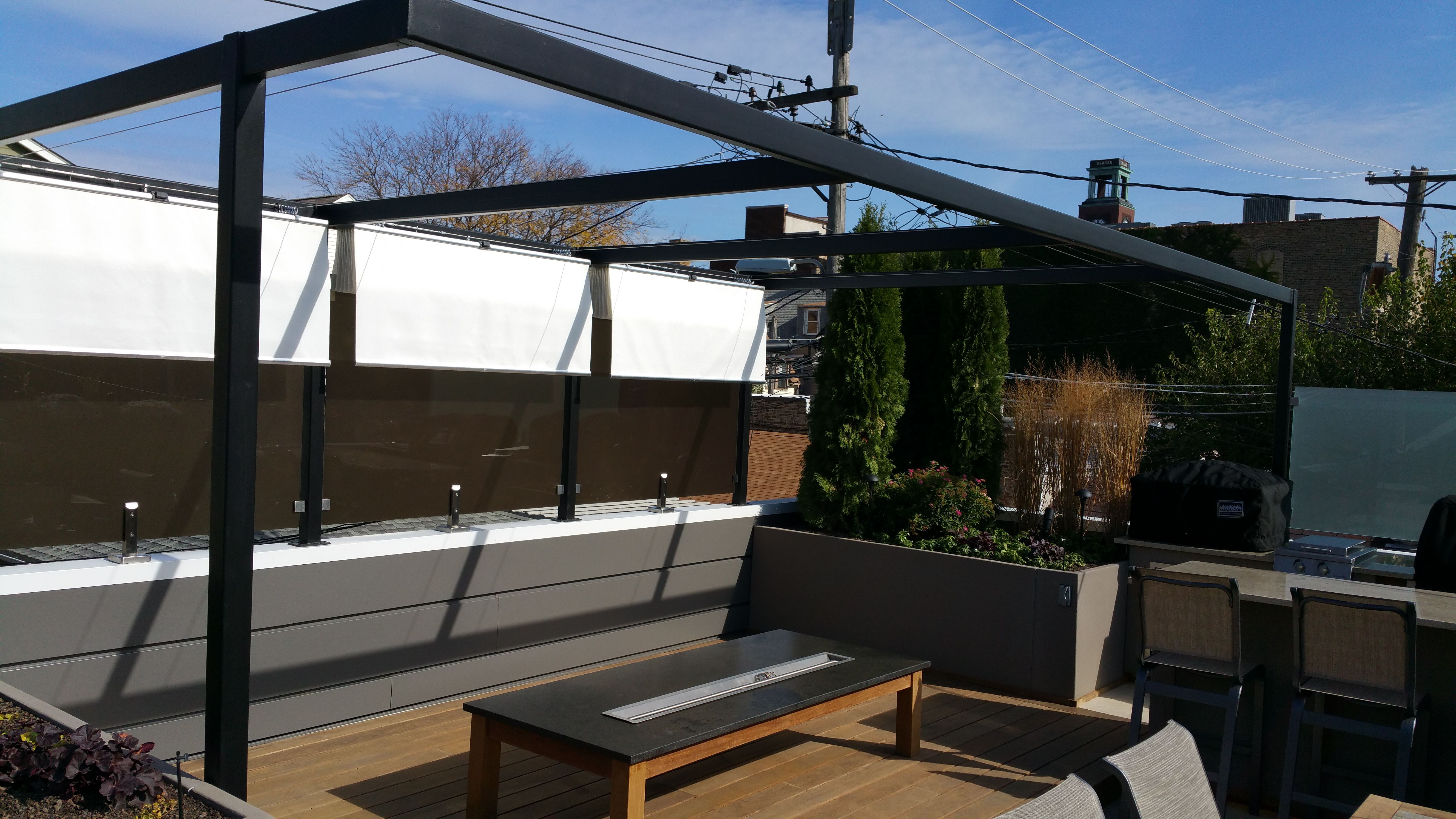 Infinity canopy can easily be retracted with the pulley system outdoorliving infinitycanopy infiniteshade modular canopy pergola luxury outdoors