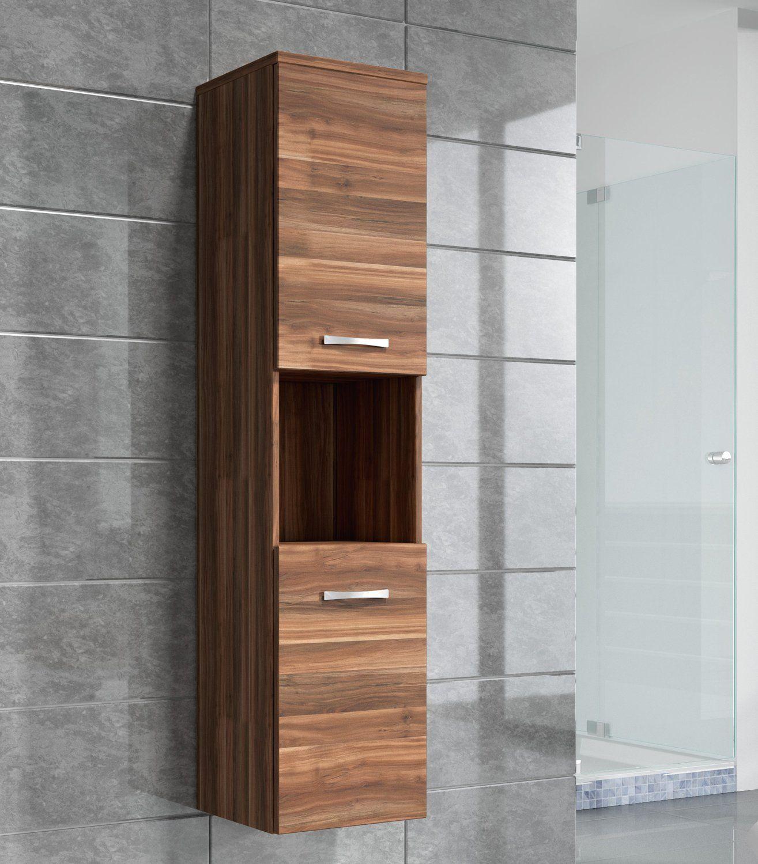 Storage Cabinet Montreal 131cm Height Walnut Oak Tall Cupboard Bathroom Furniture