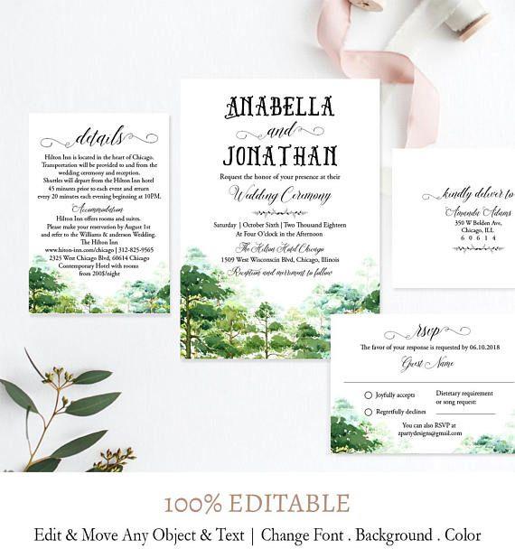 Greenery Wedding Invitation Template, Forest Wedding Invitation Set - invitation template nature