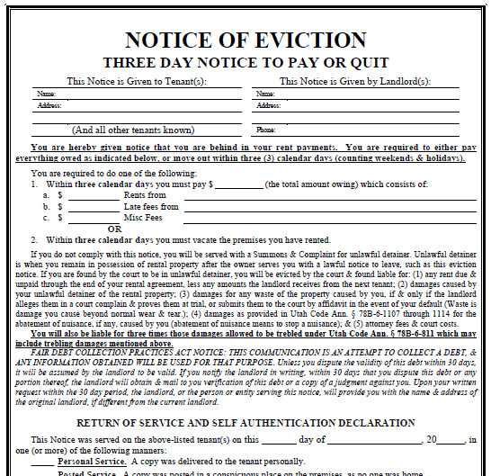 Printable Sample 3 Day Eviction Notice Form – Vacate Notice Form
